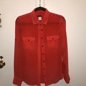 Orange button down blouse XS